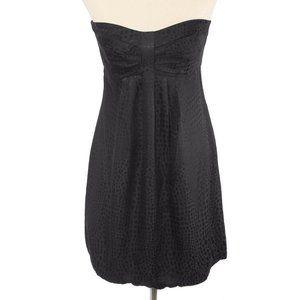 WHBM Black Silk Dot Pattern Strapless Bubble Dress